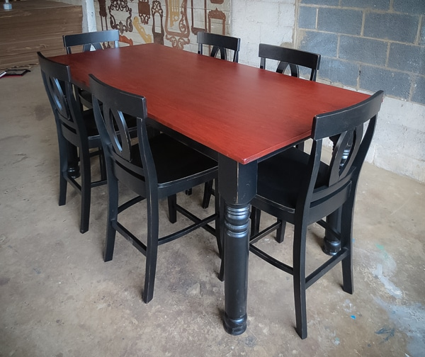 Pub table with modern chairs