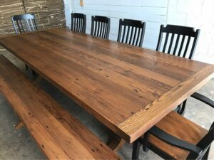 reclaimed chestnut trestle table with chairs and bench