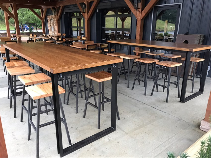 out door tables with forge steal bases